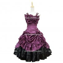 Short Strapless Purple & Black Satin Victorian Gothic Dress
