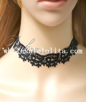 Vintage Gothic Black Lace Collar Choker Necklace for Women