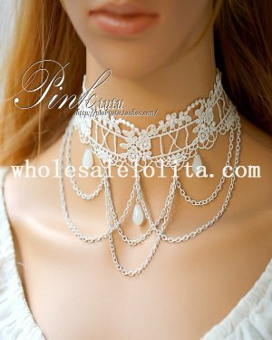 Vintage Lolita White Lace Collar Choker Crystal Pendant Necklace for Women