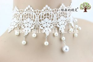 Graceful Pearl Pendant White Lace Collar Choker Necklace for Prom