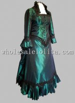 Retro Green Black Lace Victorian Bustle Period Dress Reenactment Clothing Stage Wear