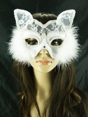 White Fox Lace Feather Mask