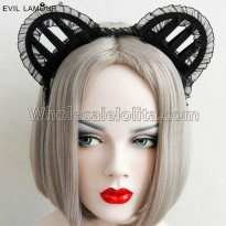 Black Cat's Ear Lace Halloween Headband Masquerade Accessories