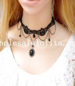 Gothic Fashion Pearl Pendant Black Lace Necklace for Gift