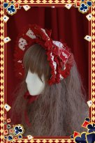 Playing Card Purplish Red Sweet Lolita Bonnet Headwear