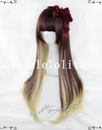 Japan Harajuku Long Straight Mix-colored Hair Wig for Girls