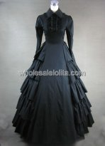 Victorian Gothic Black Period Dress Gown Halloween Cosplay Reenact Theatre Clothing