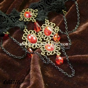 Hanmade Black Lace Red Gem Pendant Chain Necklace for Wedding Prom