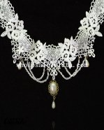 Vintage White Lace Collar Choker Pendant Necklace for Wedding Parties