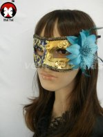 Manual Golded Sky Blue Flower Costume Party Mask