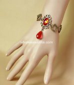 Exquisite Retro Golden & Red Crystal Bronze Drop-shaped Bracelet