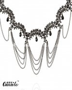 Fashon Vintage Lolita Royal Black Lace Chain Pendant Necklace