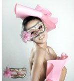 Pink Masquerade Mask with Flower