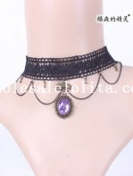 Fashion Royal Gothic Vintage Handmade Black Lace Collar Choker Necklace with Purple Gem Pendant