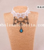 Vintage White Lace Blue Gem Pendant Necklace for Women