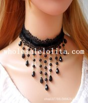Beautiful Gothic Black Lace Collar Choker Gem Pendant Necklace for Gift