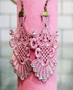 Gothic Fan Diamond Lace Lolita Earrings