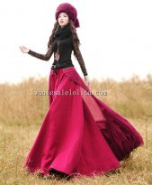 Red Cotton Elastic Waist Winter Long Skirt