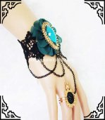 New Baroque Navy Blue Female Gothic Vintage Bracelet & Ring