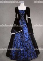 Black and Blue Floral Pattern Medieval Renaissance Costume