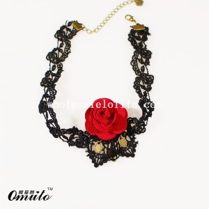 Fashion Collar Choker Lace Pendant Necklace with Red Rose