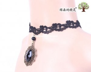 Women's Gothic Hotsale Black Lace Collar Choker Gem Pendant Necklace for Prom