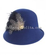 New British Style Wool Feather Ladies Winter Hat