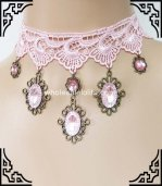 Gothic Pink Lace Necklace with Crystal